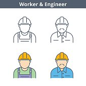 Occupations colorful avatar set: engineer, worker. Flat line professions userpic collection. Vector thin outline icons for user profiles, web design, social networks and infographics.