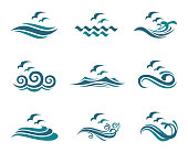 collection of ocean icon with waves and seagulls