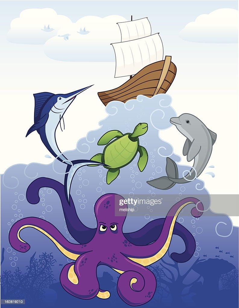Ocean Scene : Vector Art