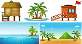 Ocean scenes with island and lifeguard house illustration