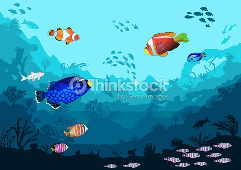 Ocean underwater world with tropical animals