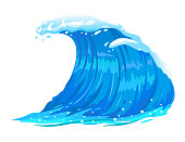 One big blue ocean wave illustration, wonderful surfing wave, isolated