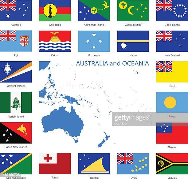 Océanie-Flags et la carte-Illustration