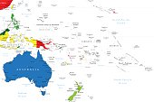 Detailed map of Oceania with countries,main cities