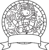Coloring picture or coloring book of funny oceanologist or oceanographer, or diver in scuba gear near the fishes. Profession series. Children vector illustration. Emblem