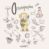 Vector alphabet Profession. Letter O - Oceanographer. Little Oceanographer with marine life around isolated on ligth background