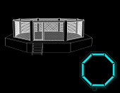 Octagon fight cage. Isolated on black background. Vector outline illustration. Front view.