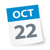 October 22 - Calendar Icon - Vector Illustration