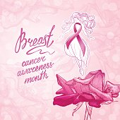 Beautiful girl with pink ribbon on a floral background. October - Breast Cancer Awareness Month. Health care and medicine concept.