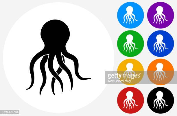 Octopus Icon on Flat Color Circle Buttons