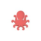 Octopus symbol icon  template. Vector flat illustration isolated on white background