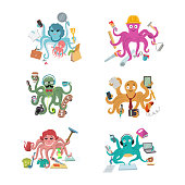 Octopus in business vector illustration octopi character of businessman constructor or housewife doing multiple tasks set of multitasking octopuses isolated on white background.