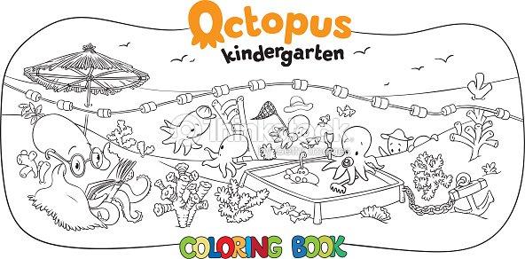 Octopus Kindergarten Coloring Book Vector Art