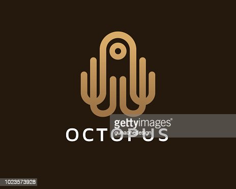 Octopus Monogram Symbol Template Design Vector Emblem Concept Design