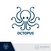 Blue Octopus symbol icon isolated on white background. Vector illustration, template design.
