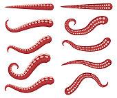 Octopus tentacles vector cartoon set.