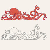 Illustration of octopus with tentacles