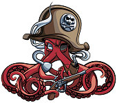 Vector colourful illustration of one-eyed octopus in the tricorn with pistol and tobacco pipe in his tentacles, isolated on white background. File doesn't contains gradients, blends, transparency and