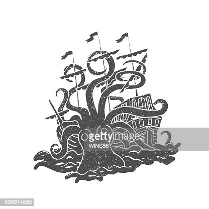 Octopus with boat. Vintage. Rubber stamp. : Vector Art