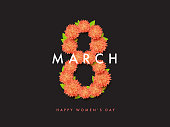 8 of March floral vector background design. Happy women day holiday banner layout. Greeting letter or postcard element with flower eight symbol and leaves. Party or event headline template with text.