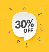 30% off, Flat sales Vector badges for Labels, Stickers, Banners, Tags, Web Stickers, New offer. Discount badge in yellow background