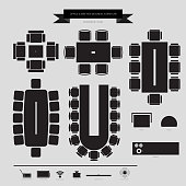 Office and Conferance Business Furniture Icon, Top View for Interior Plan