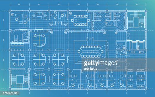 Office Building Plan Blueprint Vector Art Getty Images
