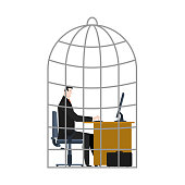 Office Cage. businessman is trapped. Vector illustration.