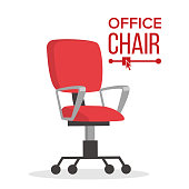 Office Chair Vector. Business Manager Empty Seat For Employee. Ergonomic Armchair For Executive Director. Furniture Icon