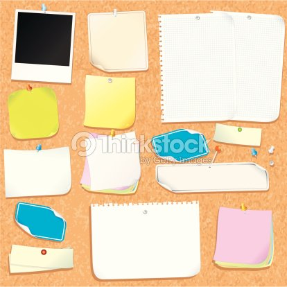 Office Cork Board With Various Blank Stickers And Adhesive