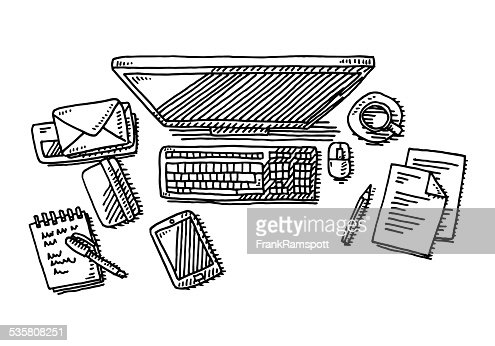 flying office documents drawing vector art art drawing office
