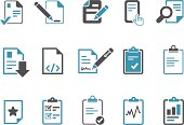 Vector icons pack - Blue Series, office docs collection.