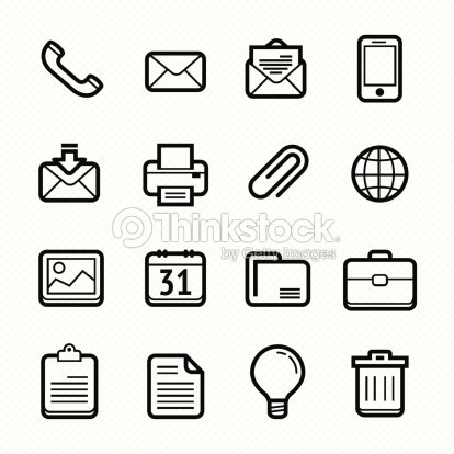 Office Elements Line Icon Set Vector Illustration stock