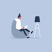 Office furniture. Young female manager sitting on the bean bag chair. Daily life. Flat editable vector illustration, clip art