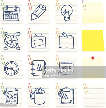 ic nes de bureau sur postits clipart vectoriel getty images. Black Bedroom Furniture Sets. Home Design Ideas