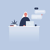 Office life. Young female character sitting at the desk. Laptop. Pop up windows. Messenger. Flat editable vector illustration, clip art. Millennials at work.