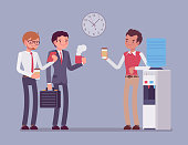 Office cooler chat. Young male workers having informal conversation around a watercooler at workplace, colleagues refreshing during a break. Vector business concept flat style cartoon illustration