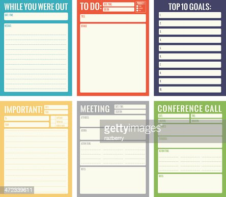 Office Note Card Templates Vector Art | Getty Images