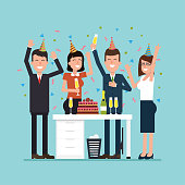 Office party with employees. Vector flat illustration with jubilant workers, confetti, cake, and champagne. Simple concept with the working situation.