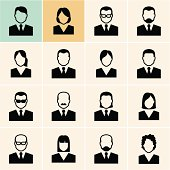Office people icons set. Isolated vector.