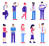 Office people set of male and female in different poses. Modern society with group of working people. Man and woman characters in the action. Businessman, manager, programmer, secretary and designer.
