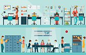 Office people with office desk and Business meeting or teamwork, brainstorming in flat style vector illustration.