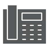 Office phone glyph icon, office and communication, telephone sign, vector graphics, a solid pattern on a white background, eps 10.