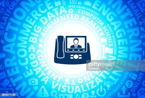 Office Phone Icon on Internet Modern Technology Words Background