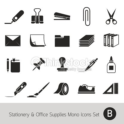 Office Supplies And Stationery Objects Mono Icons Set B Vector Art