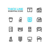 Office Supplies - modern vector plain simple thick line design icons and pictograms set. Locker, copier, chair, safe, fax, trash basket, cabinet, computer, plotter, cutter, phone, server work place di