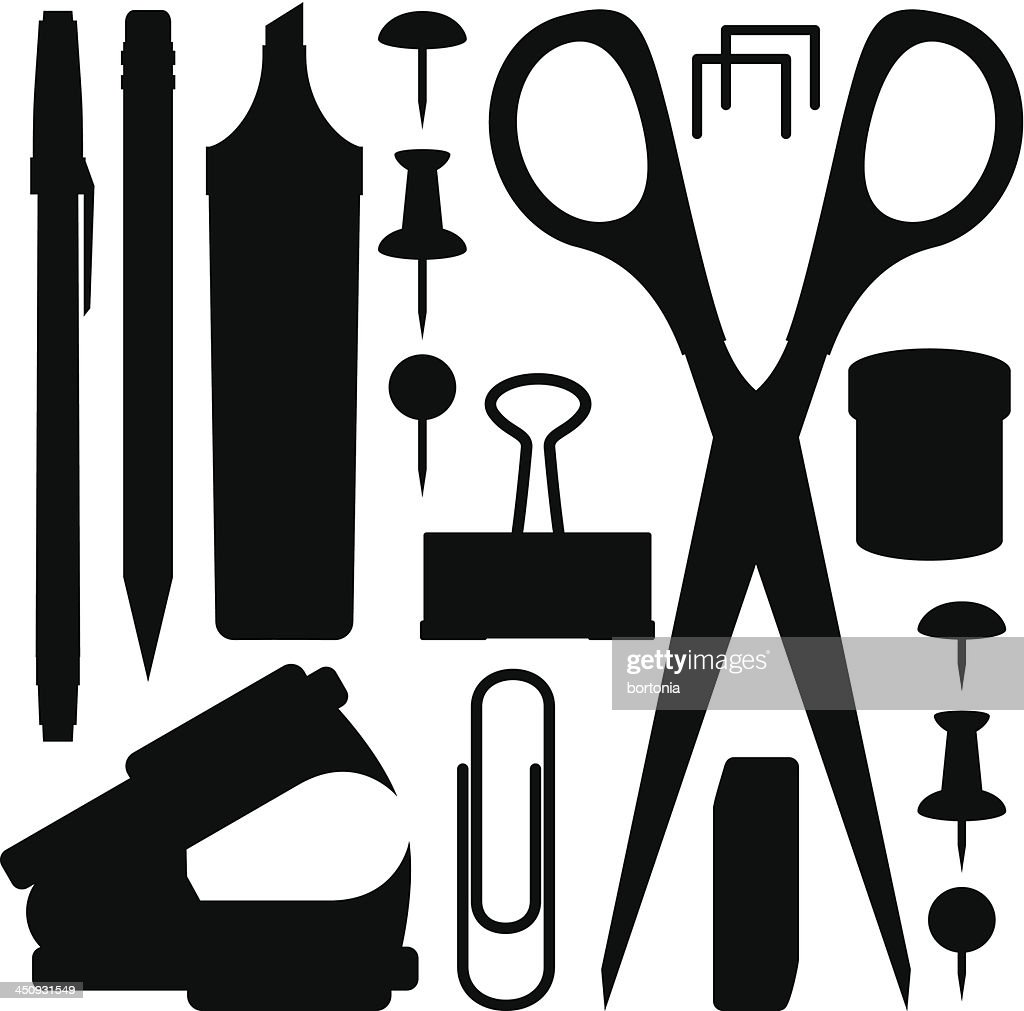 Office Supply Silhouettes Vector Art | Getty Images