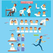 Office Syndrome Health Care Concept. Vector Illustration Set