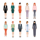 Office woman character flat design vector. people in different clothes style. Group of people working.