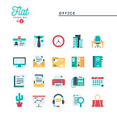 Office, work space and items, flat icons set, vector illustration